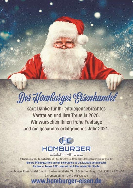 Weihnachtsgrüße Homburger Eisenhandel